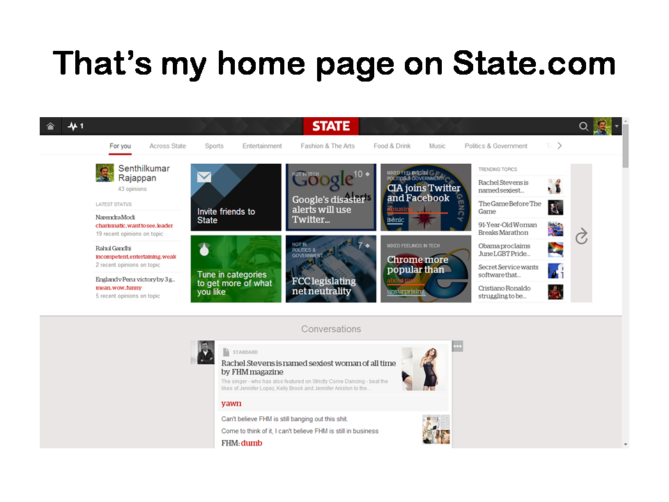 That's my home page on State